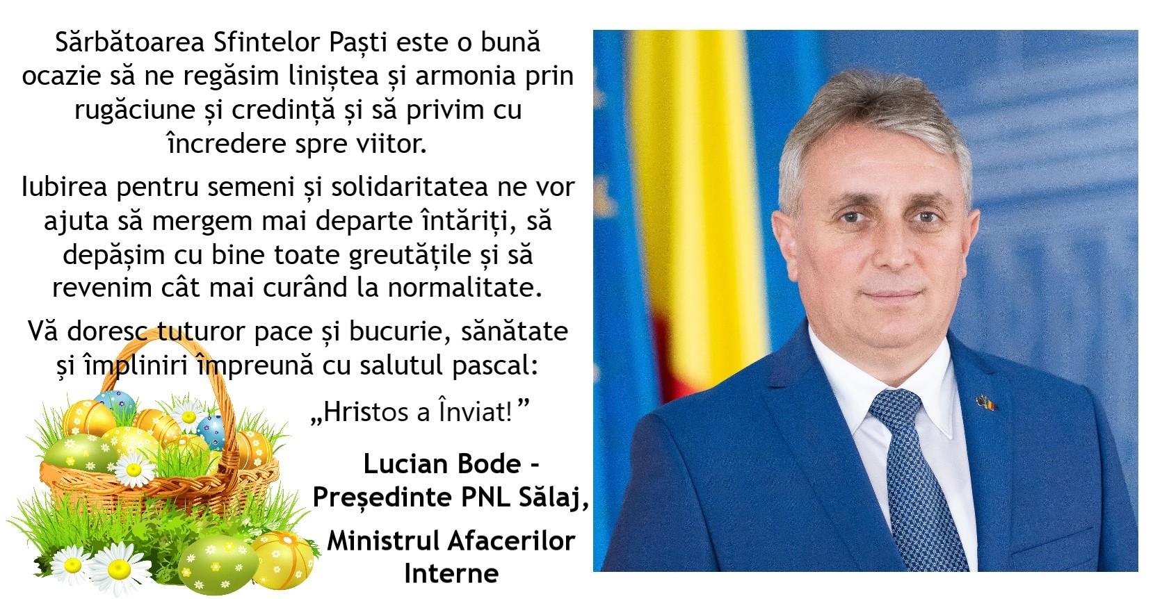 mesajul presedintelui pnl salaj ministrul afacerilor interne cu ocazia sarbatorilor pascale